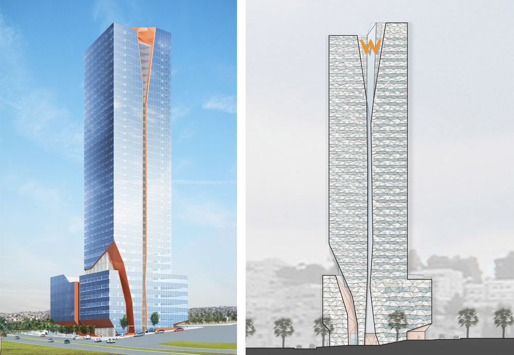 Rendered overviews of building