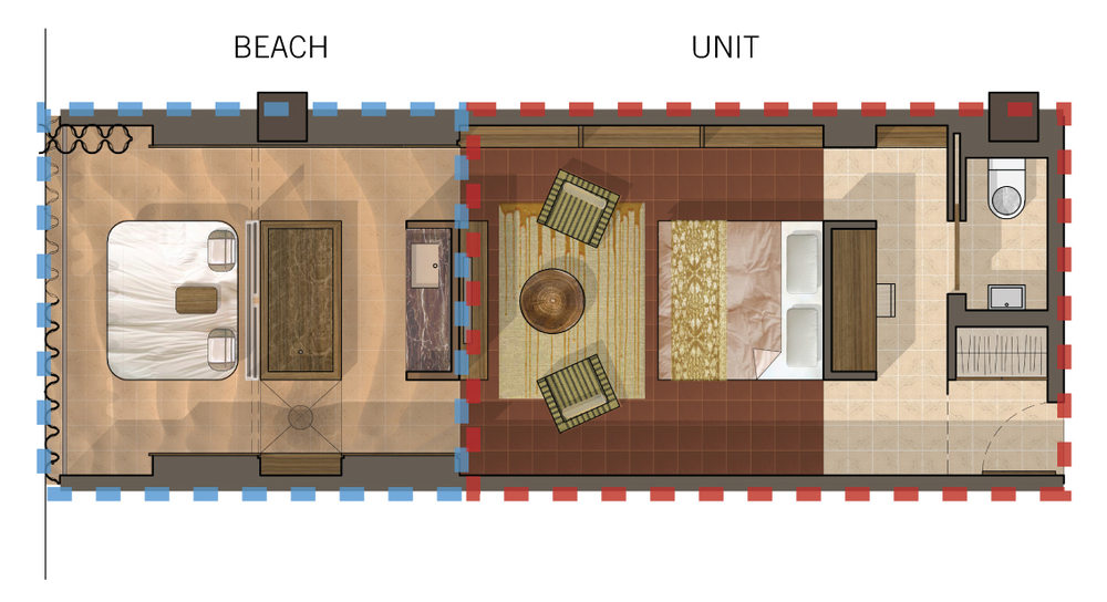 Plan diagram of typical hotel room