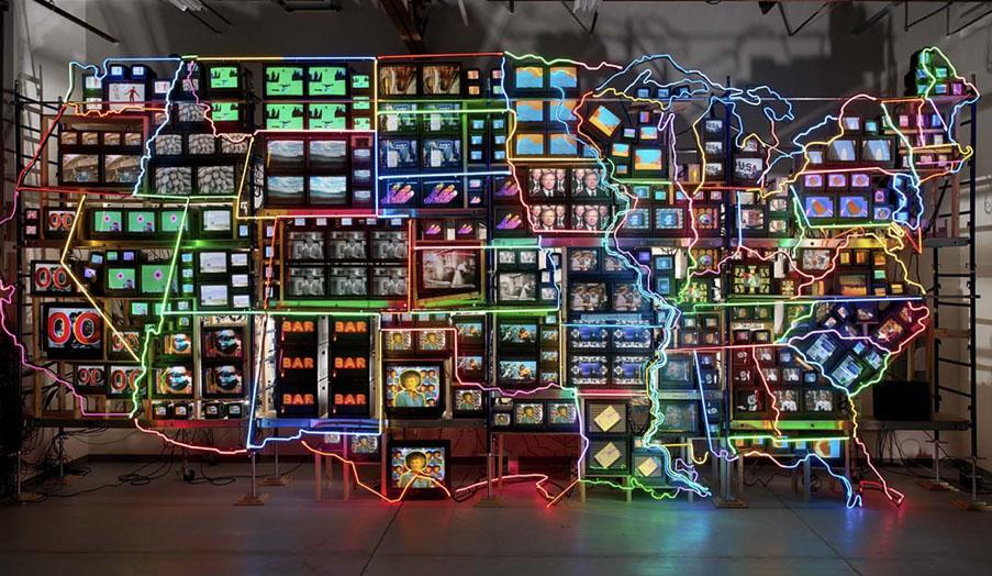 """Electronic Superhighway"" - Nam June Paik, 1995"