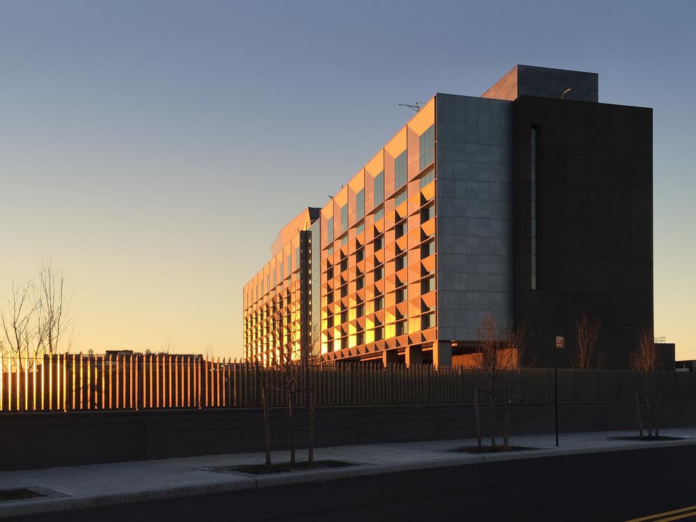 SouthEast corner of Recruit Academic Building at dusk - 2015