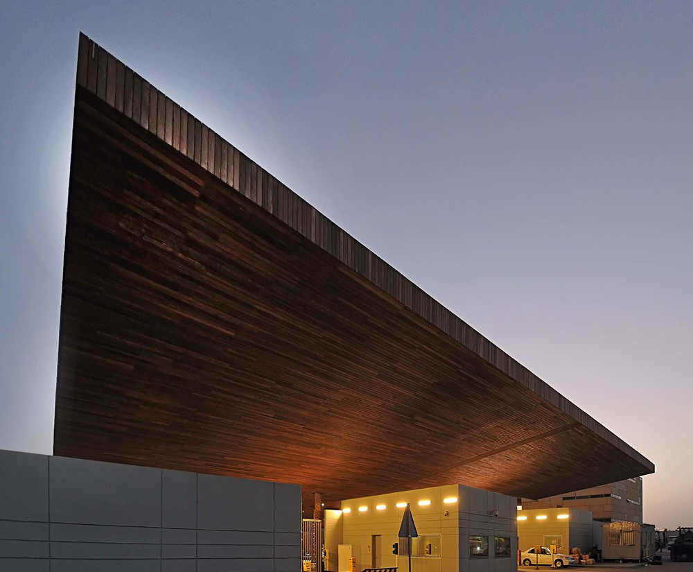 Wood-clad Main Entrance Canopy