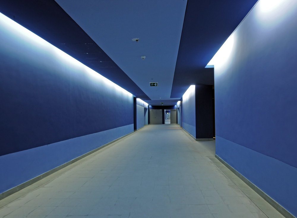 Photograph of Administration Building hallway - color palette based on local spices/weaving