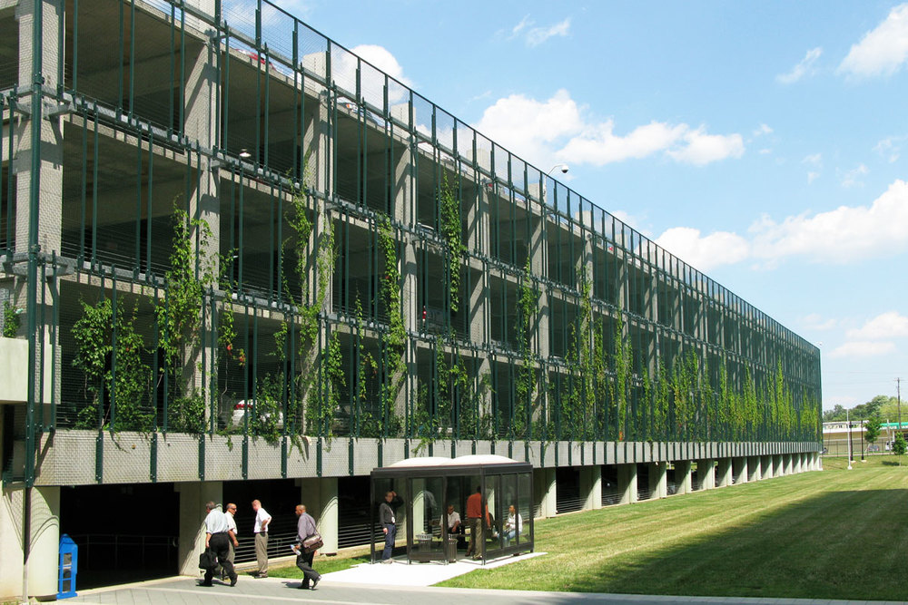 Ivy-clad, turf-covered parking garage - Image credit: © R. Anthony Fieldman