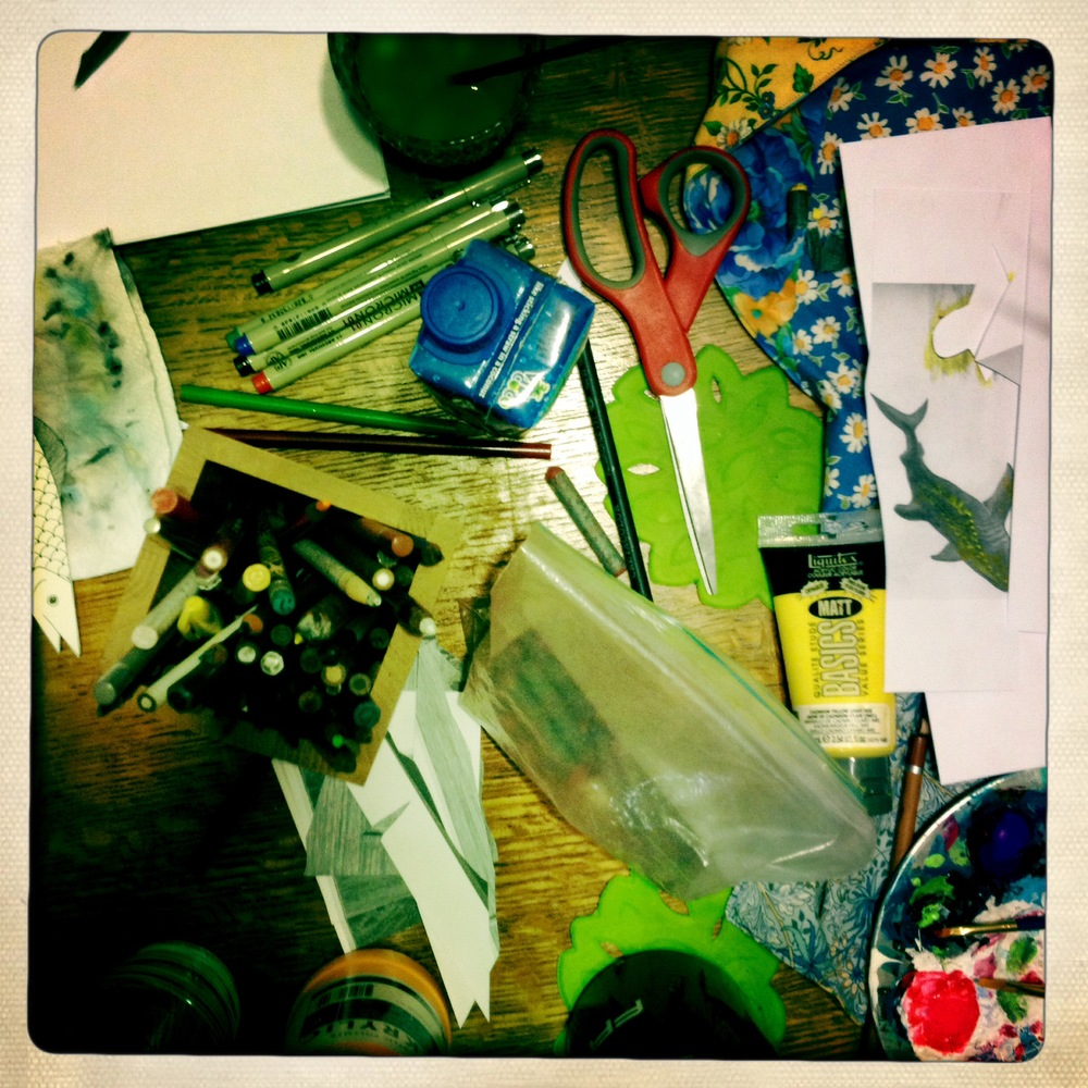 This is what our kitchen table looked like for many, many nights.
