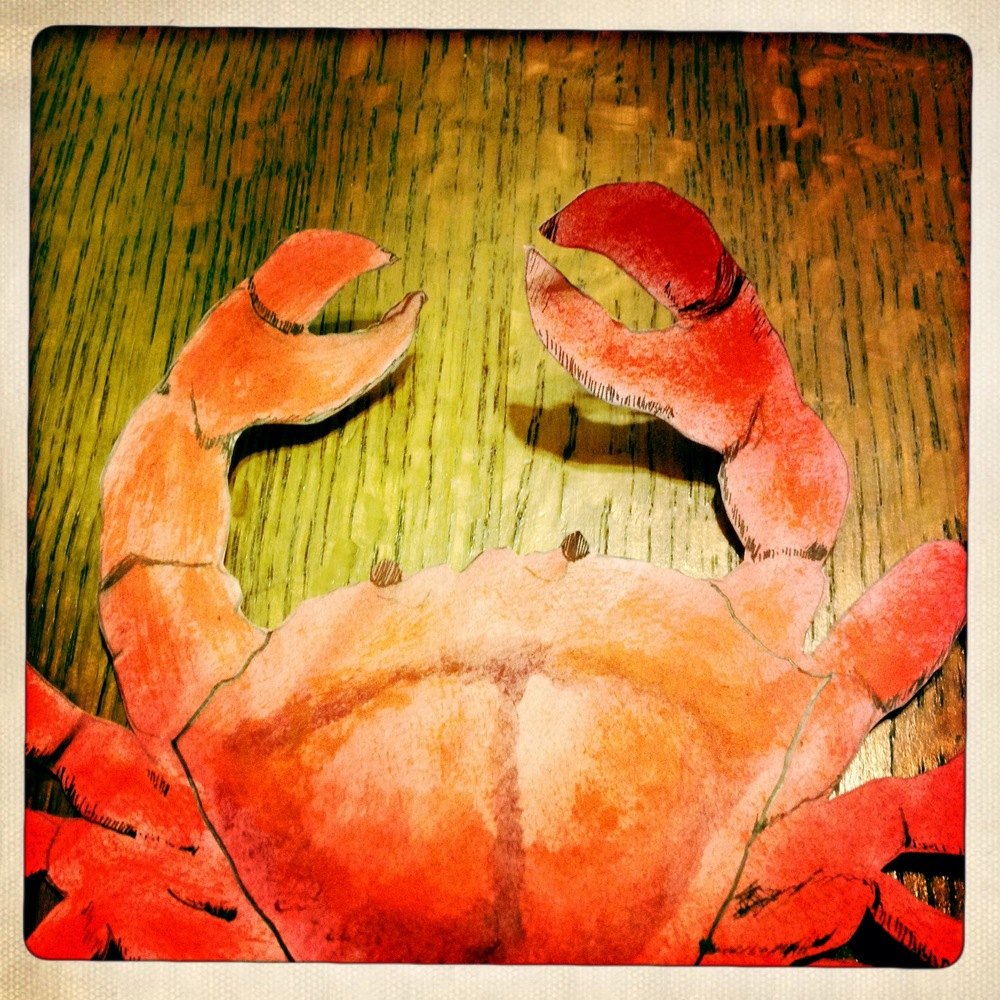 Here is a close-up of a freshly painted crustacean hanging out on our kitchen table. I remember spending quite a bit of time getting the shadowing just right on this guy.
