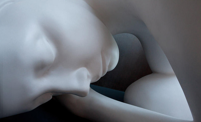 """Monumental Cocoon"" , (detail) 2010  Marble, 40 x 80 x 42 inches, Waterfall Gallery & Mansion, New York, NY"