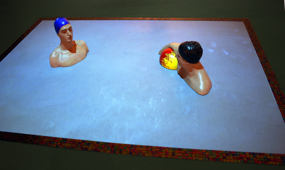 'Tomor and Matteo in the Pool', 2010    Oil on Resin, Video Projection, Ceramic Tile, 120 x 96 inches