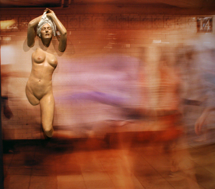 Nude Coming Through 14th Street, 2010 Oil on Resin, Photograph on Vinyl, 84 x 96 x 6 inches, Collection of the artist
