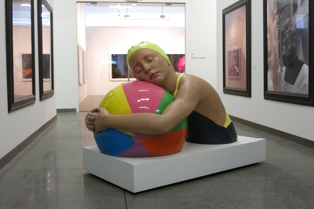 Monumental Brooke with Beach Ball  , 2013. Oil on Bronze. 42 x 60 x 45 inches.