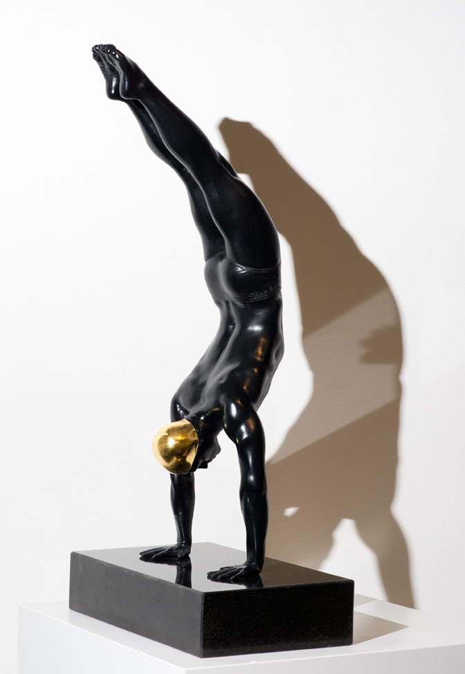 Miniature Diver   , 2014, Bronze with 24 karat gold leaf, 24 x 8 x 6 inches.