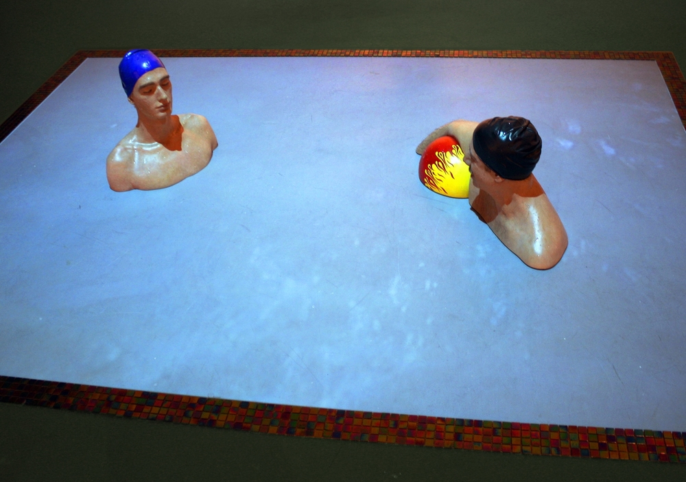 Tomor and Matteo in the Pool, Resin & Interactive Video, El Paso Museum of Art, 2010