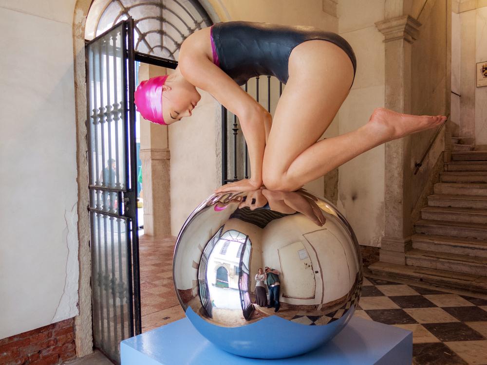 "Monumental Quan, Palazzo Bembo, Venice, Italy, 2012, Patinated Bronze, 67 x 60 x 43 """