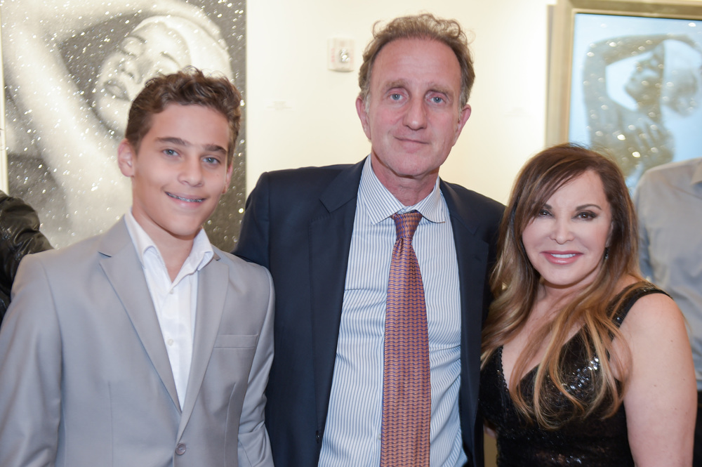 Gallery Owner Bernard Markowicz & son with Carole A. Feuerman at her Solo Show Opening at Markowicz Fine Art, Miami