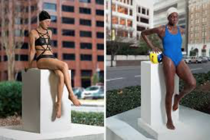 "All people are equal. ""Kendall"", Bronze & Lacquer ""Yaima"", Bronze & Lacquer, Poydras Corridor in Front of The Civil Rights Courthouse by Carole Feuerman"