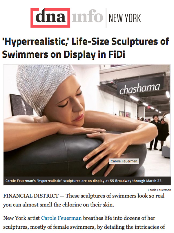'Hyperrealistic,' Life-Size Sculptures of Swimmers on Display in FiDi