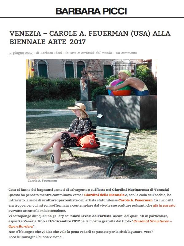 VENEZIA – CAROLE A. FEUERMAN (USA) ALLA BIENNALE ARTE 2017