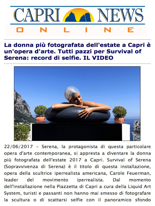 La donna più fotografata dell'estate a Capri è un'opera d'arte. Tutti pazzi per Survival of Serena: record di selfie. IL VIDEO