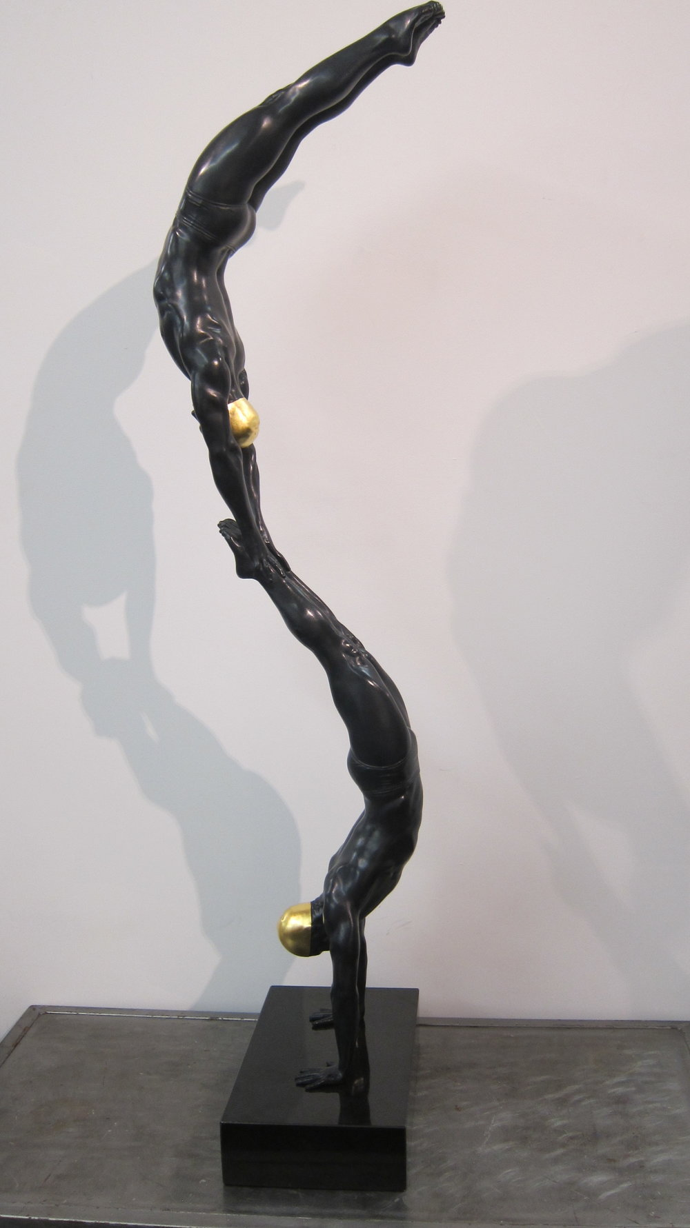 The Double Diver, 48 x 10 x 10, Black Patina With Gold Leaf Cap, 2015