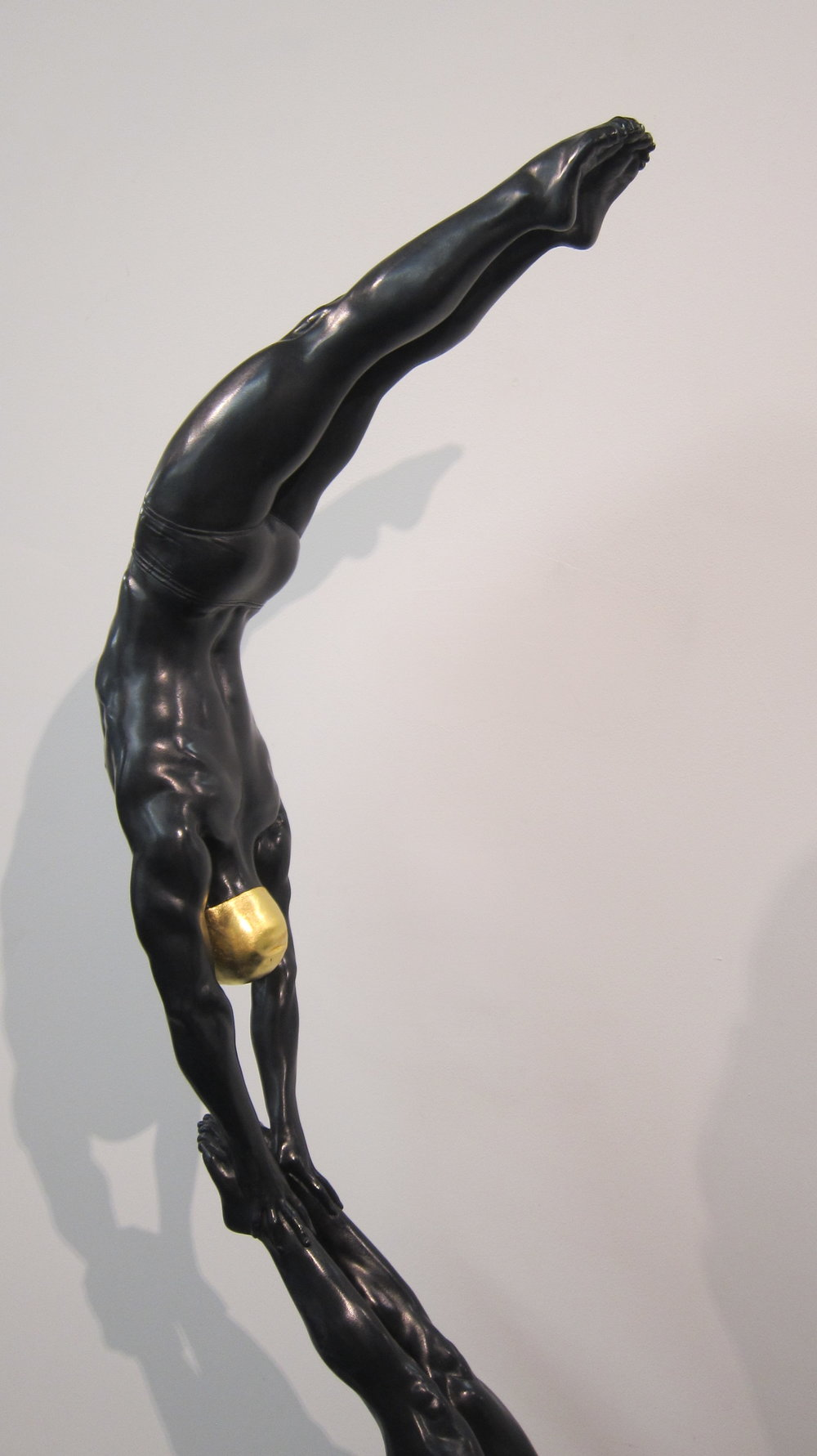 The Double Diver, 48 x 10 x 10, Black Patina With Gold Leaf Cap, 2015, New York Studio