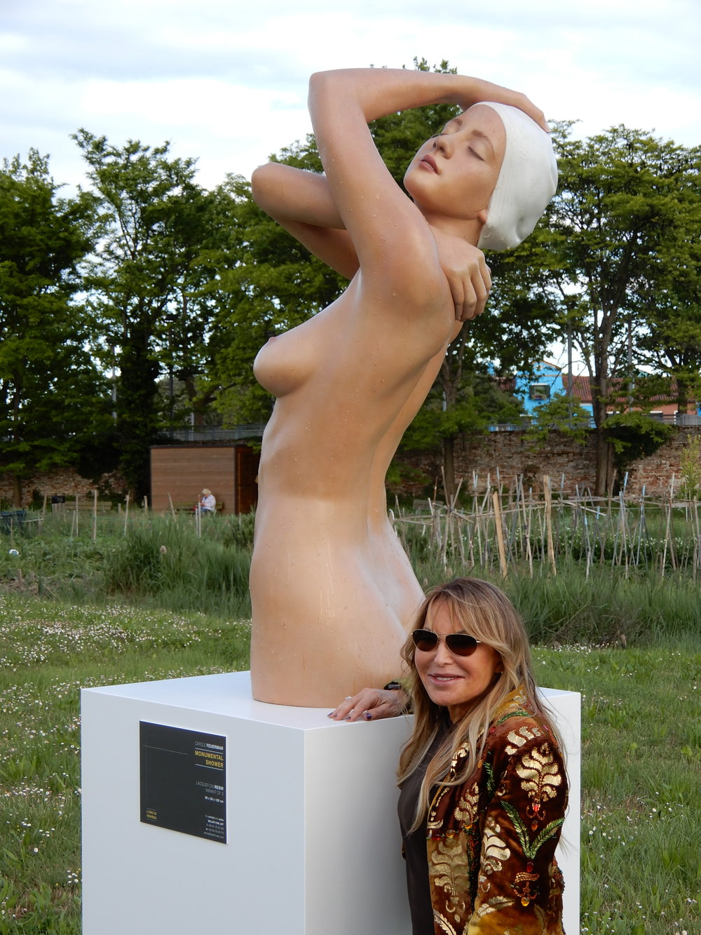 "Carole Feuerman with Monumental Shower, Bruano, Italy, 2009, Resin, 51"" x 21"" x 23"""