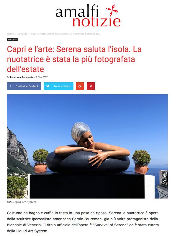 Capri e l'arte: Serena saluta l'isola. La nuotatrice è stata la più fotografata dell'estate