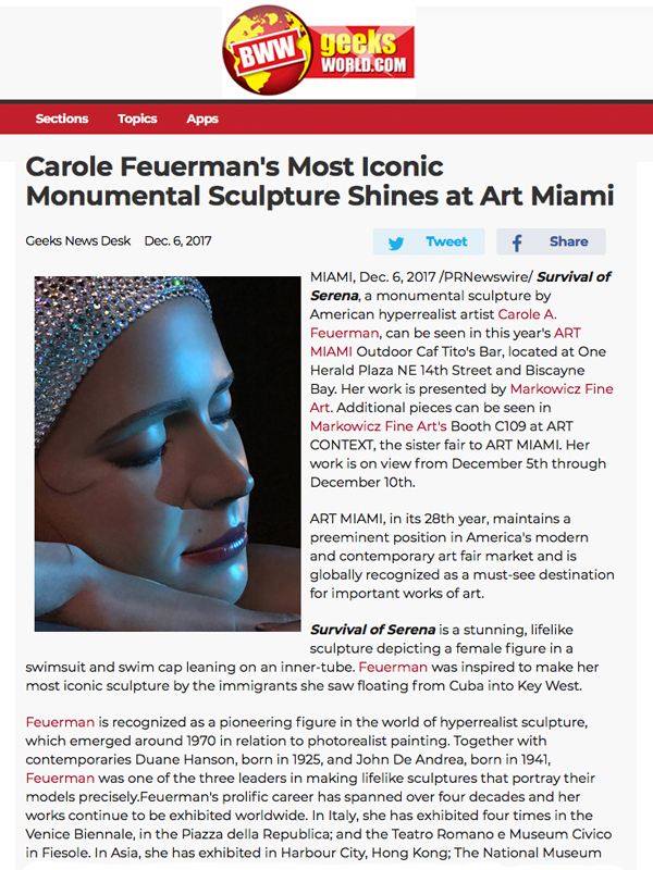 Carole Feuerman's Most Iconic Monumental Sculpture Shines at Art Miami