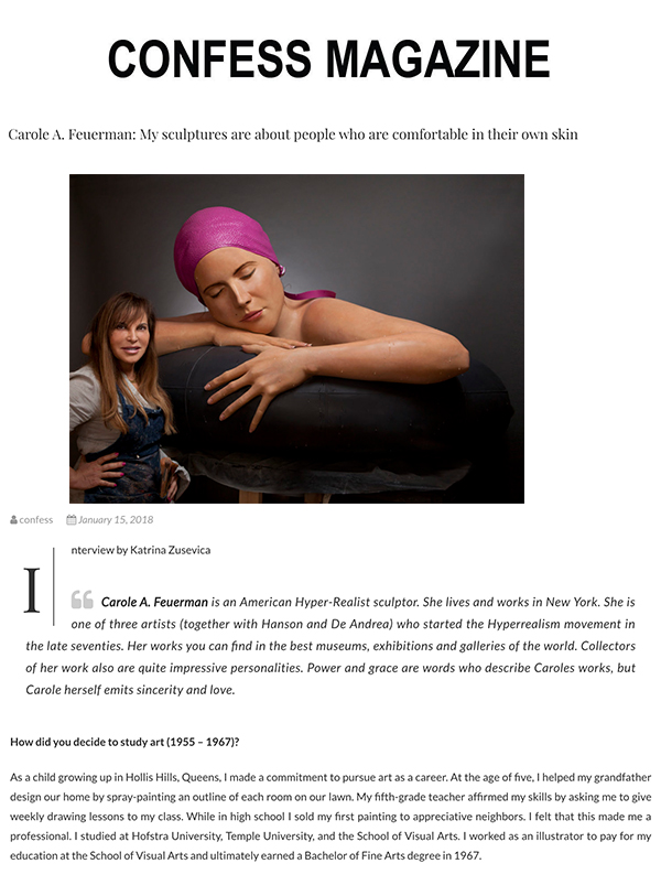 Carole A. Feuerman: My sculptures are about people who are comfortable in their own skin