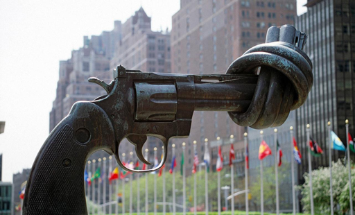 Non-Violence  ,  sculpture by   Carl Fredrik Reuterswärd, 1985.