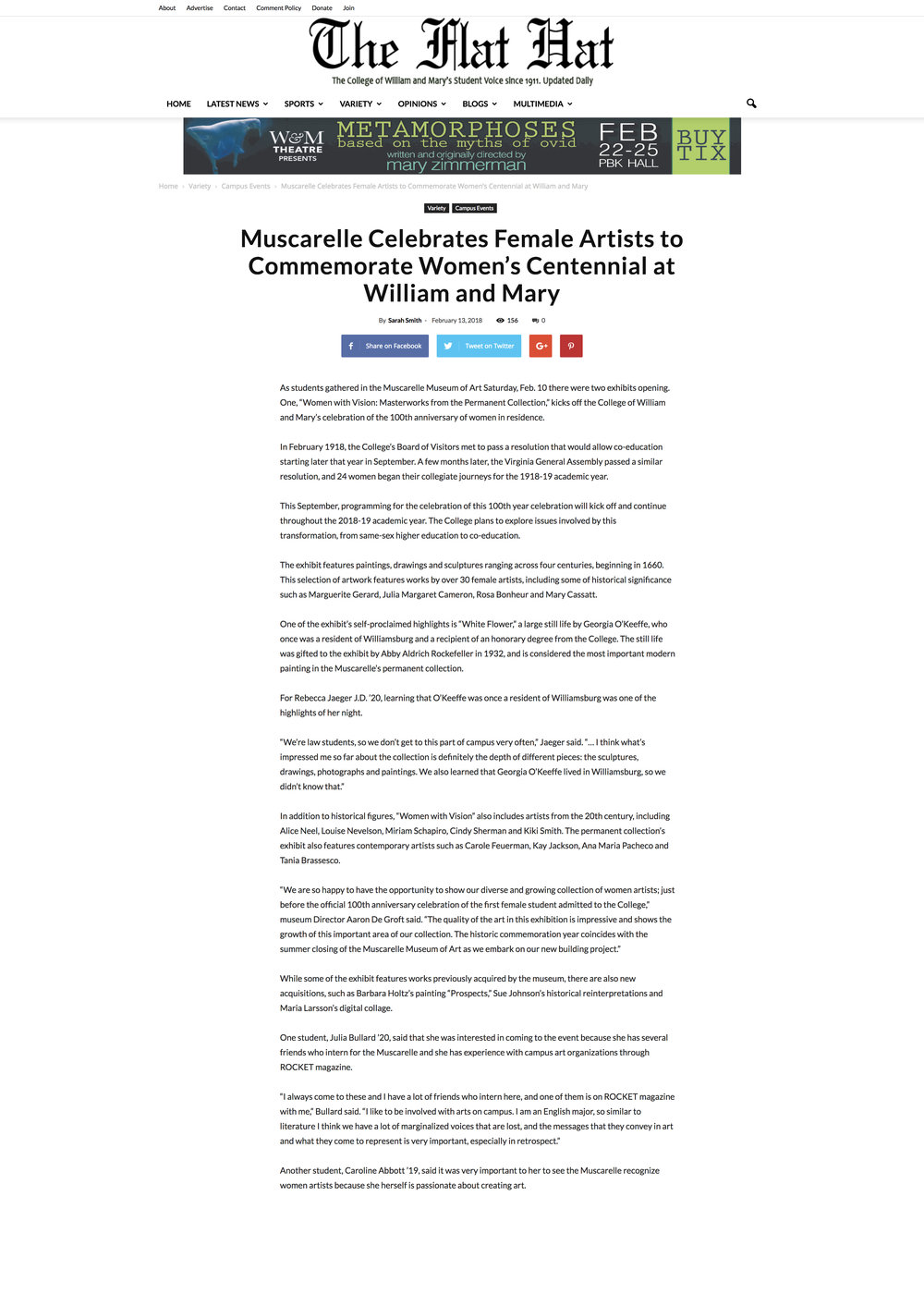 Muscarelle Museum of Art Celebrates Female Artists to Commemorate Women's Centennial at William and Mary College