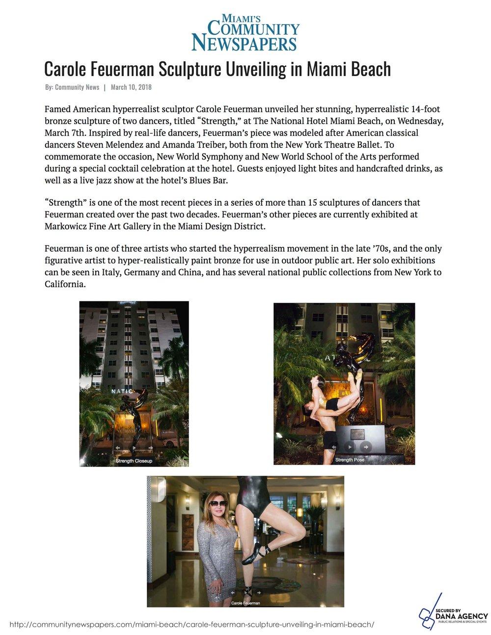 Carole Feuerman Sculpture Unveiling in Miami Beach