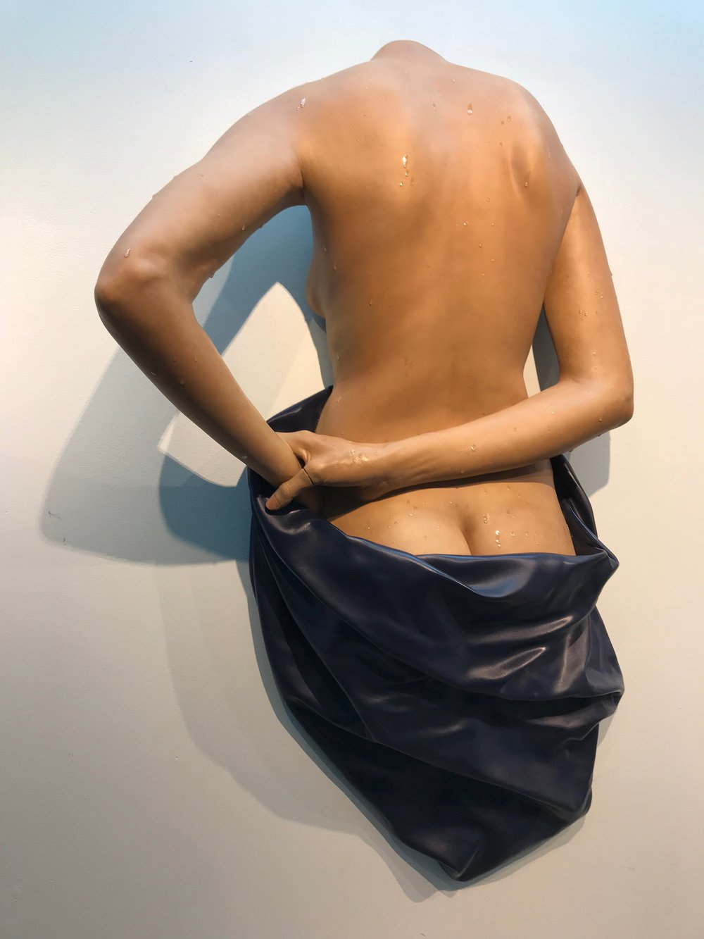 "Blue Towel on Back, 2018, Polychromed Resin, 38"" x 28"" x 10"""