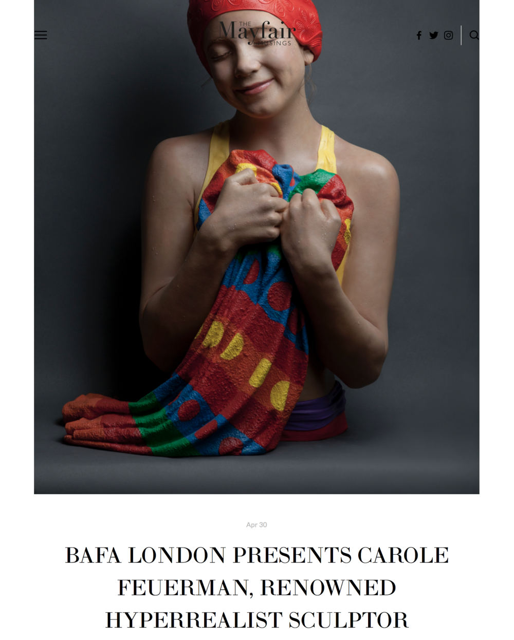 BAFA London Presents Carole Feuerman, Renowned Hyperrealist Sculptor