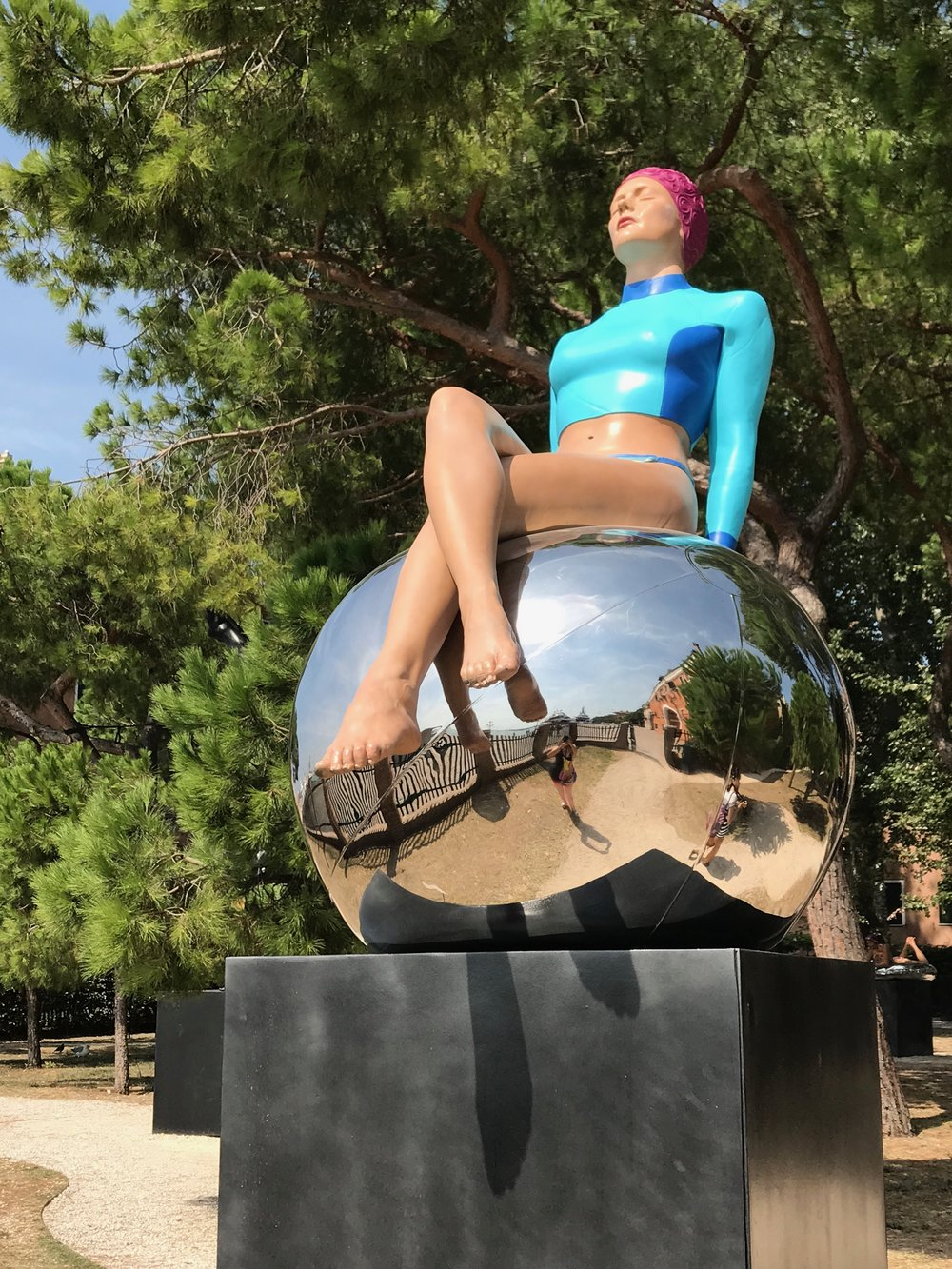 "Bibi on the Ball, Giardini Marineresa, Venice, Italy,  2017, Oil on Resin, 64"" x 46"" x 34"""