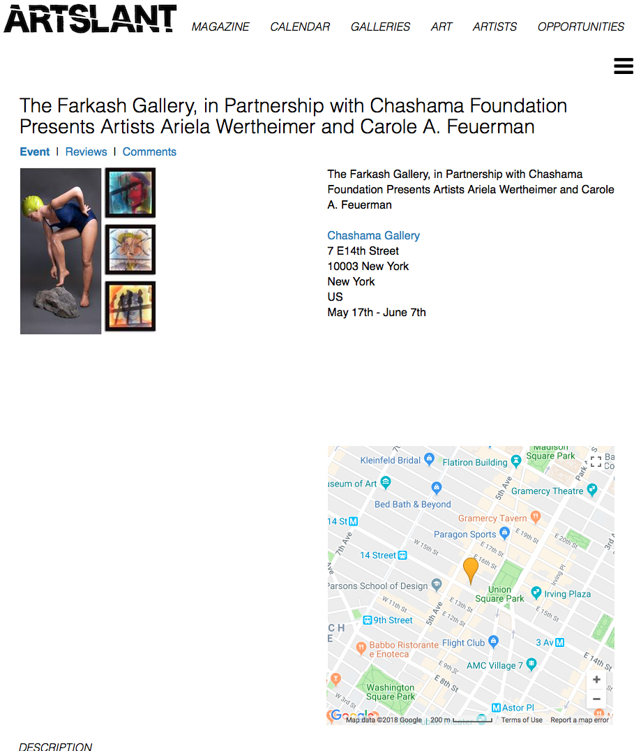 The Farkash Gallery, in Partnership with Chashama Foundation Presents Artists Ariela Wertheimer and Carole A. Feuerman