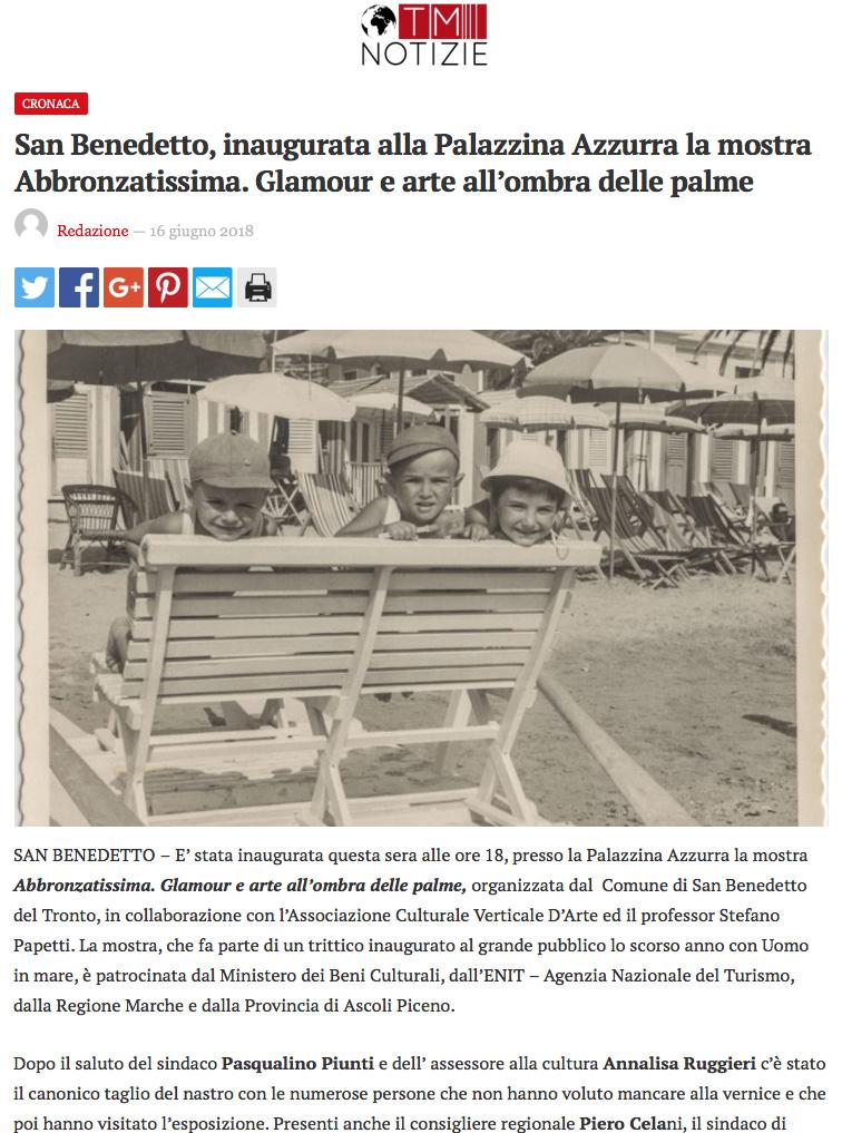 San Benedetto, inaugurata alla Palazzina Azzurra la mostra Abbronzatissima. Glamour e arte all'ombra delle palme
