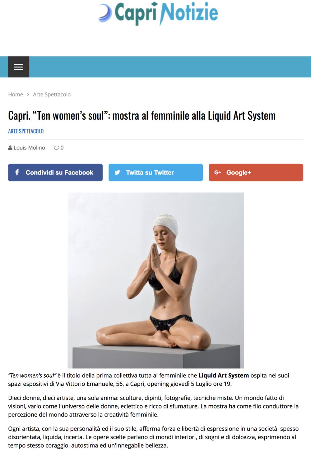 "Capri. ""Ten women's soul"": mostra al femminile alla Liquid Art System"
