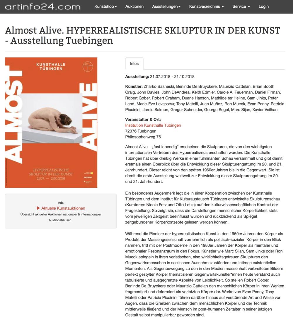 Almost Alive. HYPERREALISTISCHE SKLUPTUR IN DER KUNST - Ausstellung Tuebingen