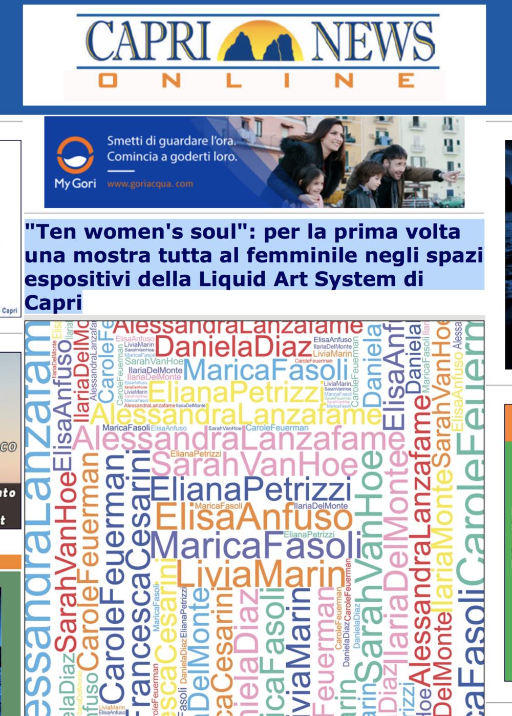 """""""Ten women's soul"""": per la prima volta una mostra tutta al femminile negli spazi espositivi della Liquid Art System di Capri"""
