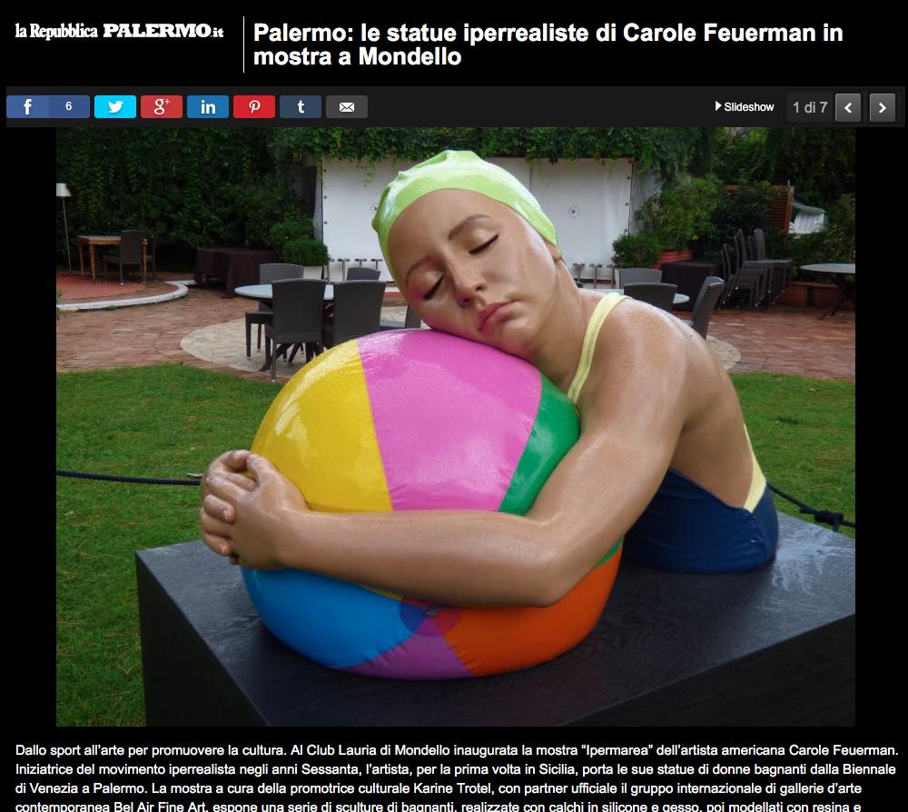 Palermo: le statue iperrealiste di Carole Feuerman in mostra a Mondello
