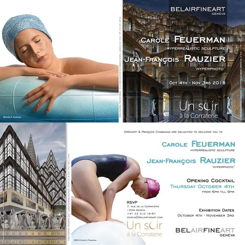 BelAir Fine Art Geneva - Featuring Carole Feuerman with contemporary photographer Jean-Francois RauzierOctober 4, 2018 - November 3rd 2018OPENING COCKTAILThursday, October 4th from 6pm - 9pmRSVP7, Rue de la Corraterie1 204 Geneva+41 22 310 16 67geneva@belairart.com