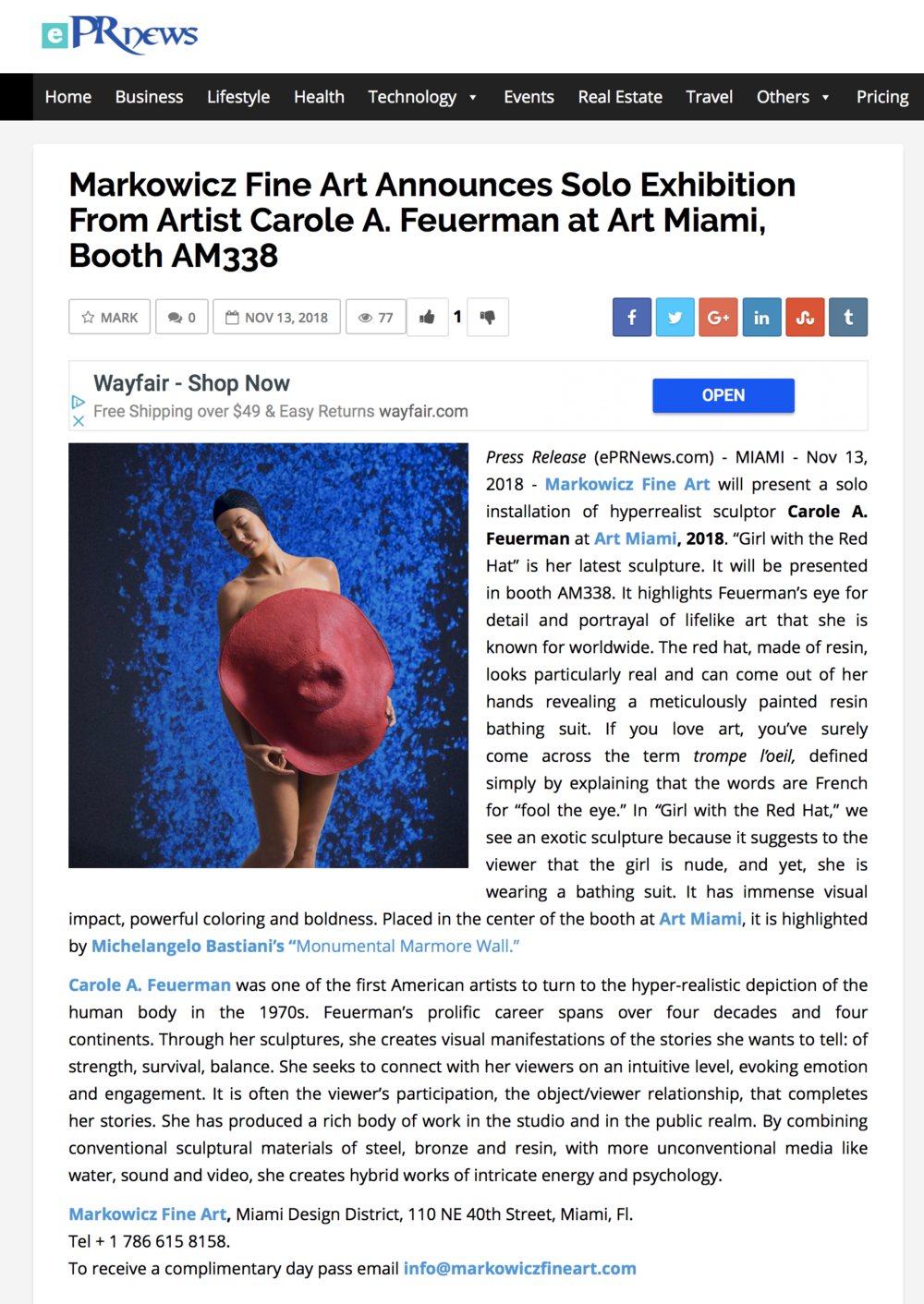 Markowicz Fine Art Announces Solo Exhibition From Artist Carole A. Feuerman at Art Miami, Booth AM338