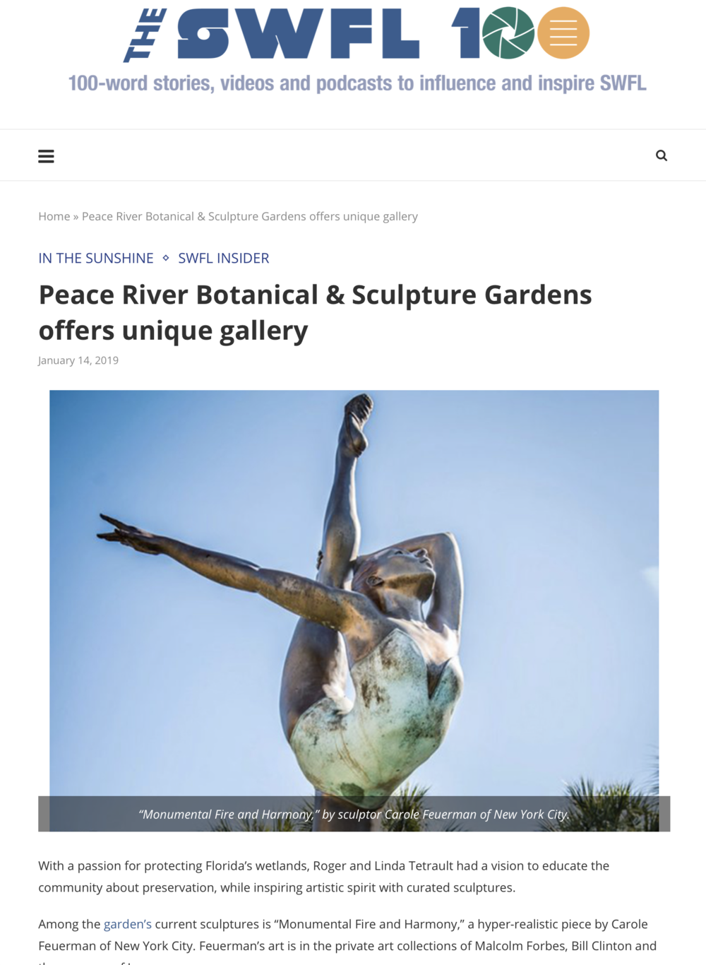 Peace River Botanical & Sculpture Gardens offers unique gallery