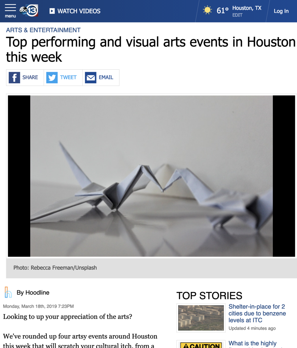 Top performing and visual arts events in Houston this week