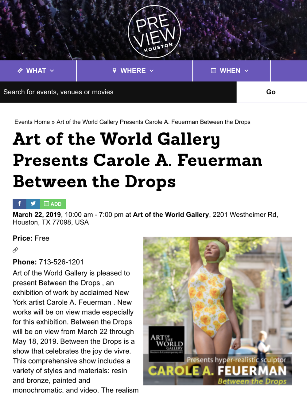 rt of the World Gallery Presents Carole A. Feuerman Between the Drops