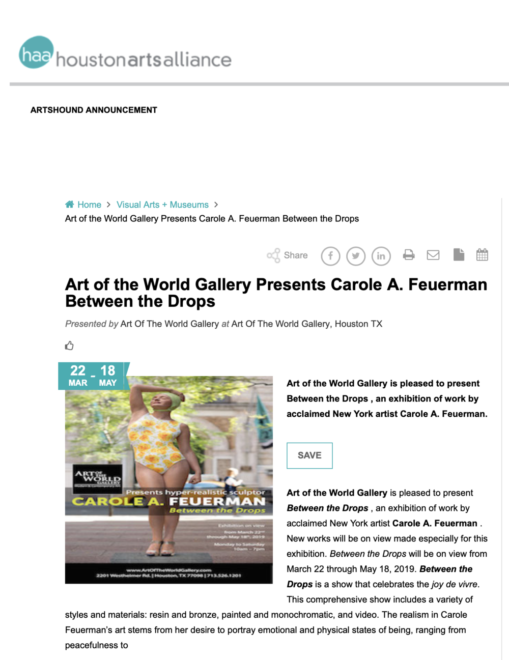 Art of the World Gallery Presents Carole A. Feuerman Between the Drops