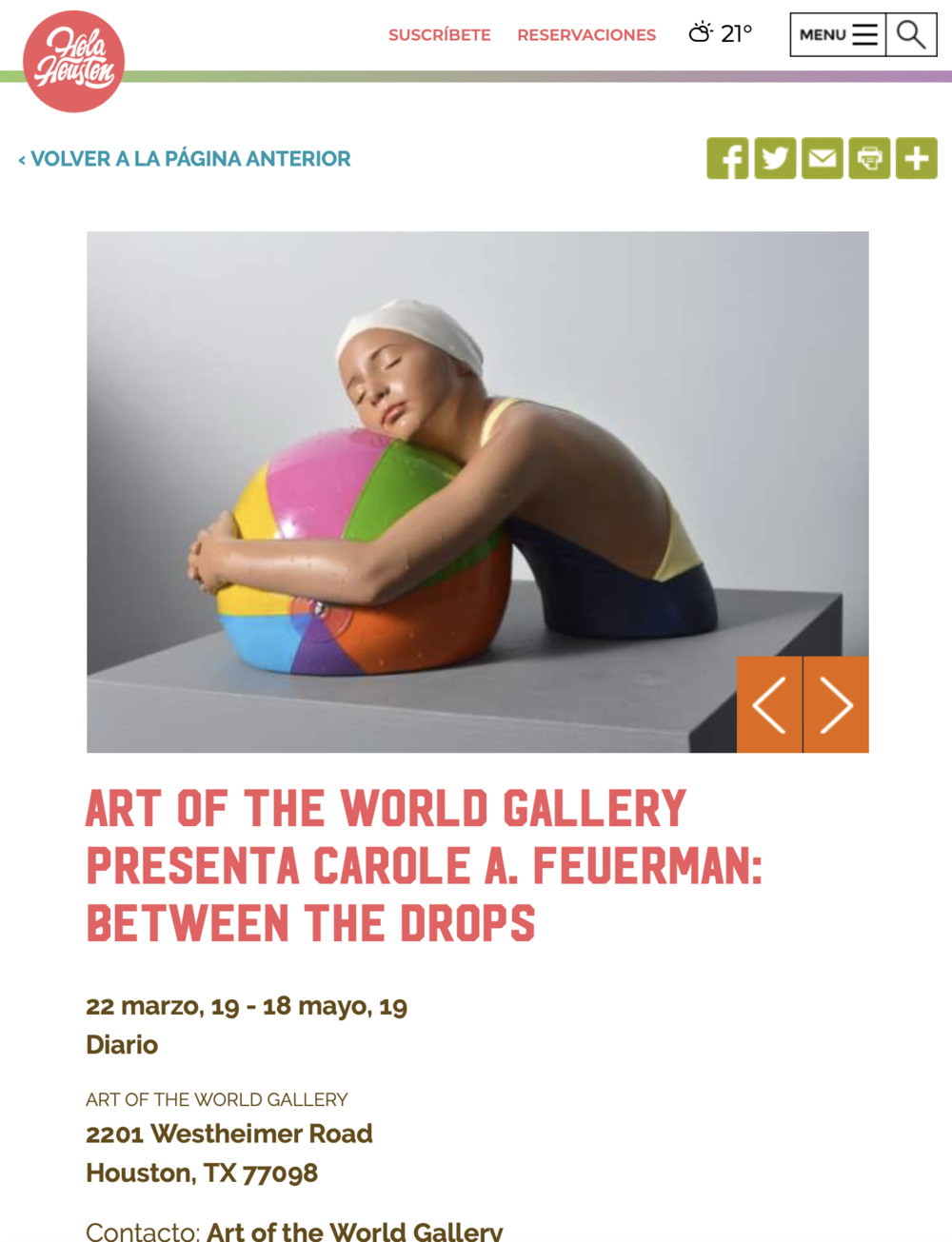 Art of the World Gallery presenta Carole A. Feuerman: Between the Drops