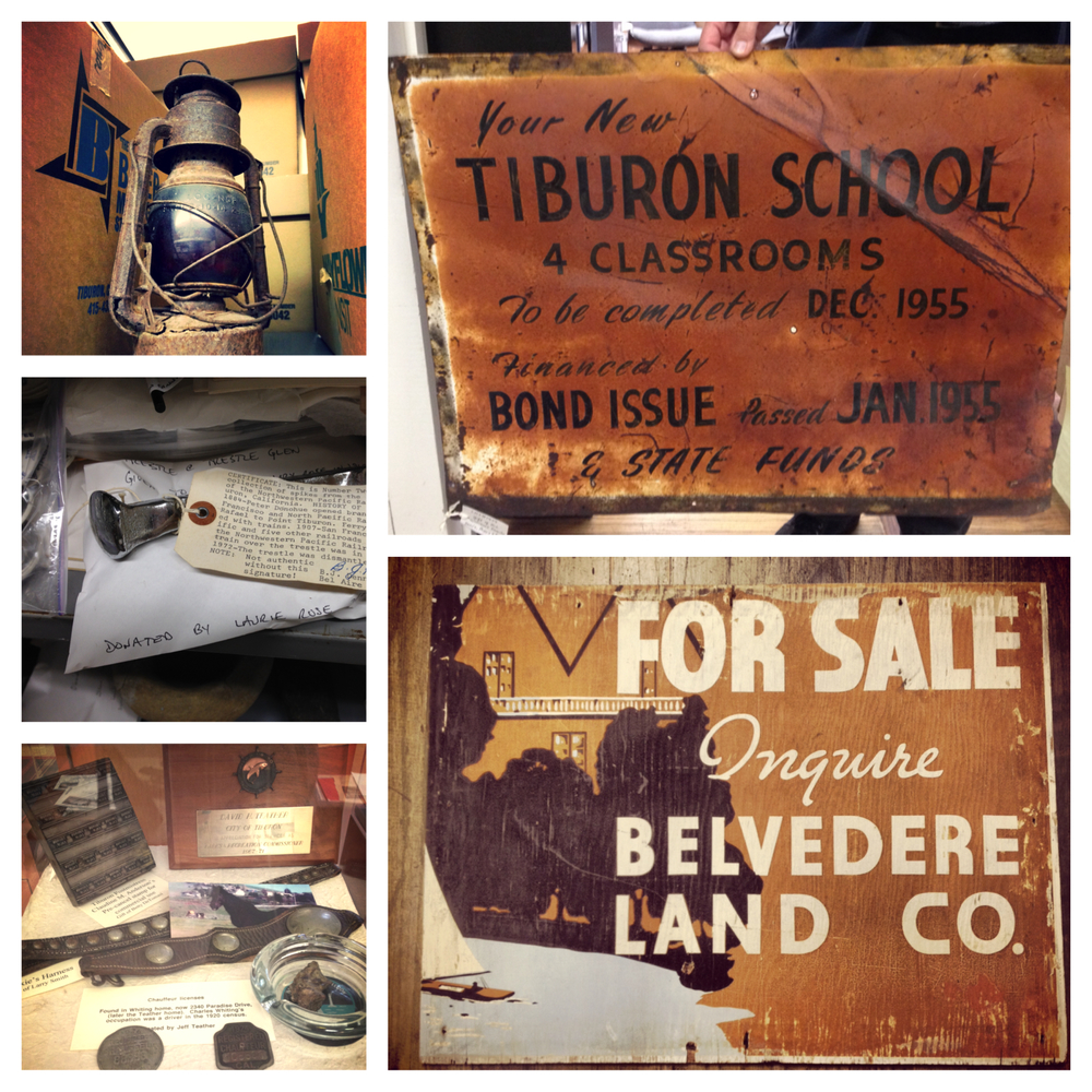Clockwise from top right: A sign introducing the new Tiburon School, 1955; For Sale sign; Items from the Tiburon Landmarks Society; A railroad spike from the Bel Aire Trestle of the Northwestern Pacific Railroad; A lantern. © Lazy J kids clothing