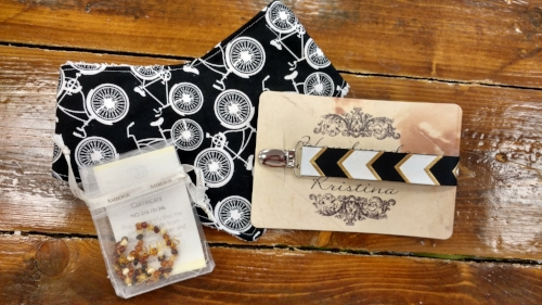 Bandana Bib, Handmade Pacifier Clip (both from local artists), Amber Teething Necklace. Total = $38.99
