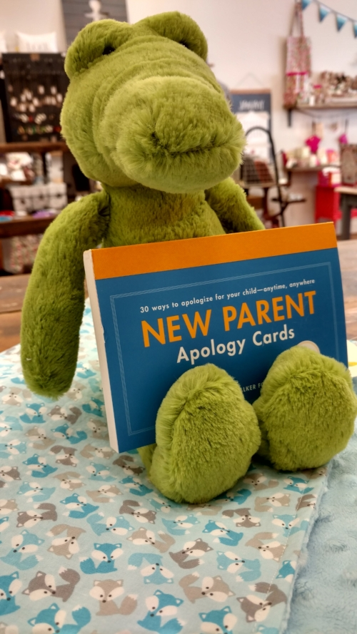 Handmade Baby Blanket, New Parent Apology Cards (hysterical),   Jellycat Stuffed Animal  . Total = $57.98