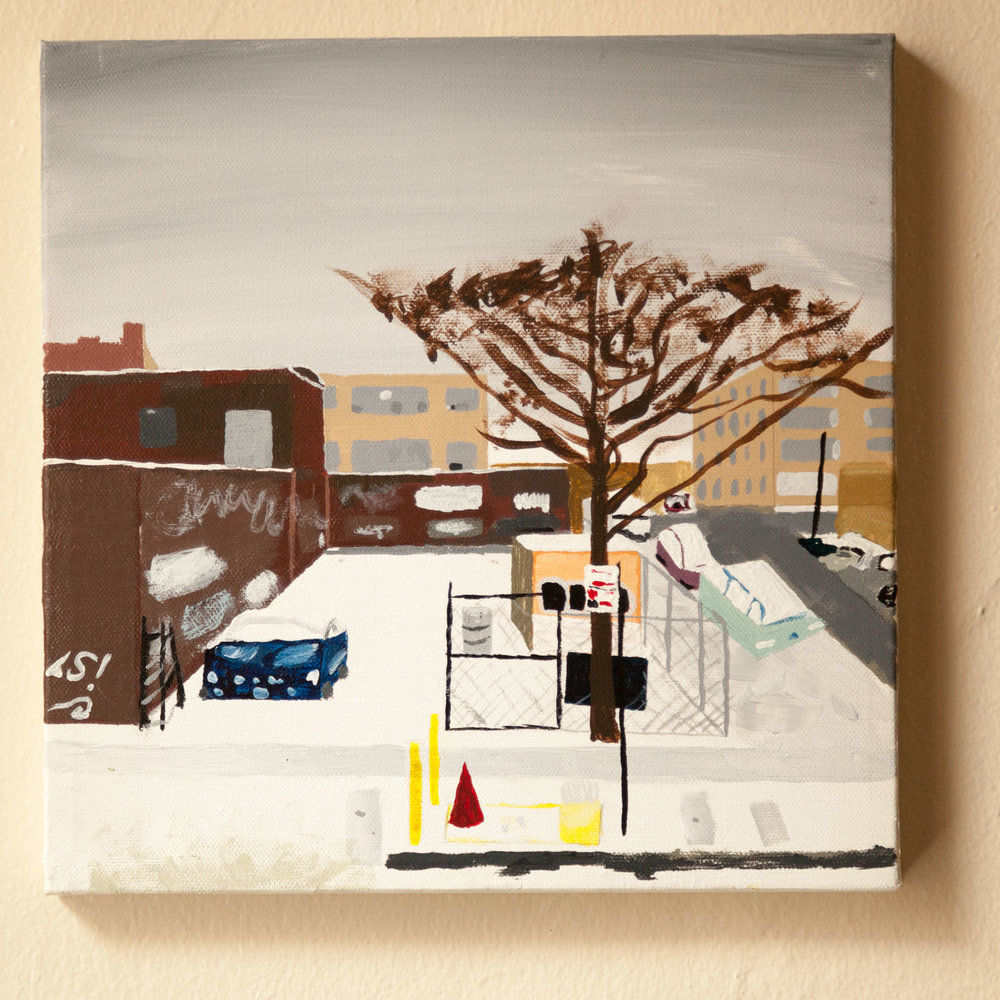 "Harrison Pl. at Porter Ave, Acrylic on Canvas, 8""x10"", 2015 (first painting of the ""Bushwick"" series.)"